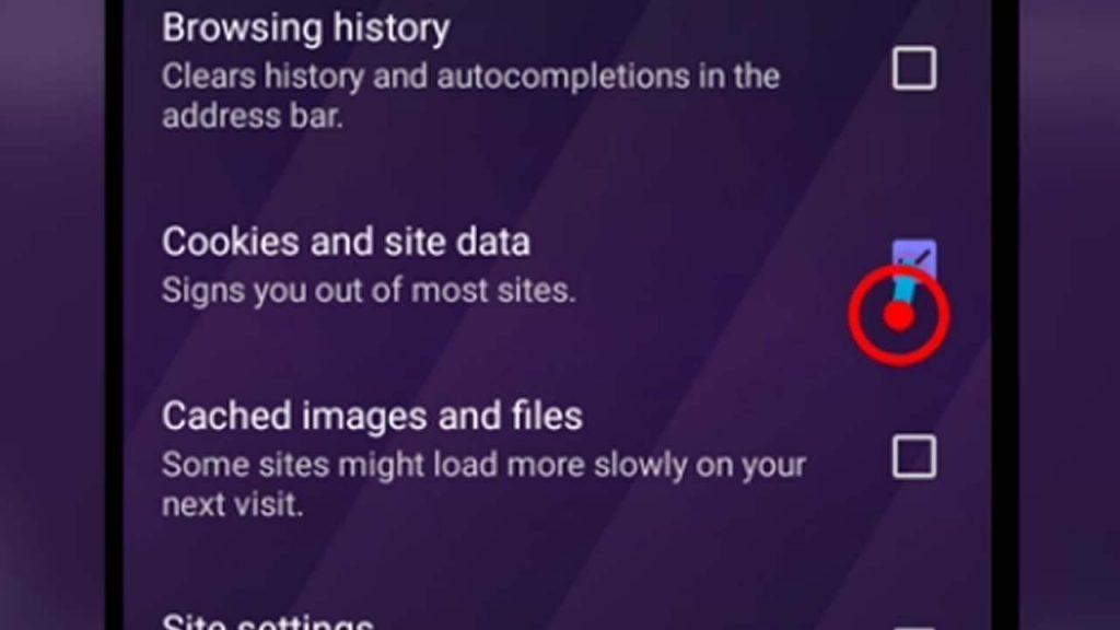 4. opera touch cookies and site data checkbox