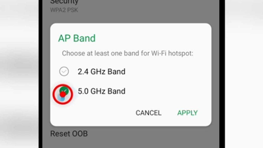 4. select 5.0GHz Band