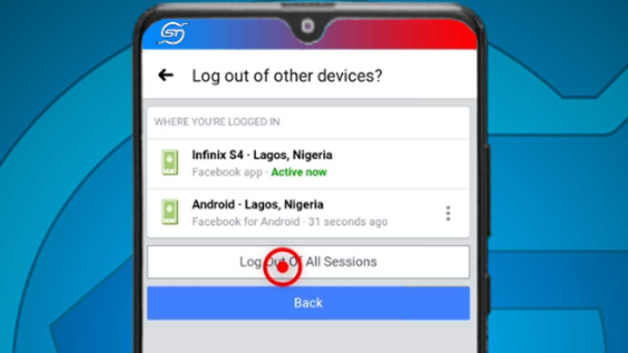 14. facebook android log out of all sessions