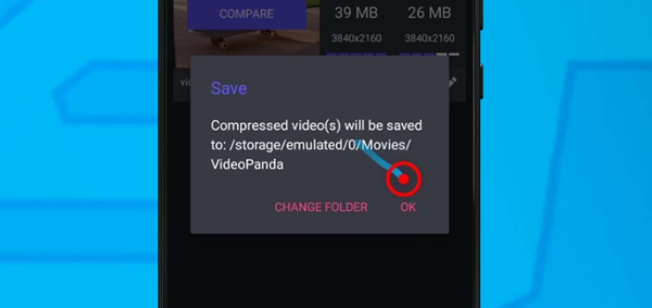 10 tap ok to save on video compress panda