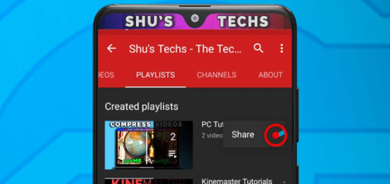 45 youtube playlist share button